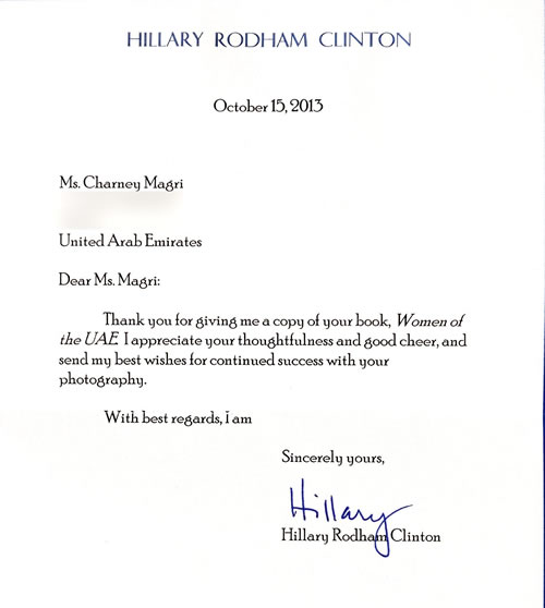 Hillary Clinton President of the USA Letter Charney Magri