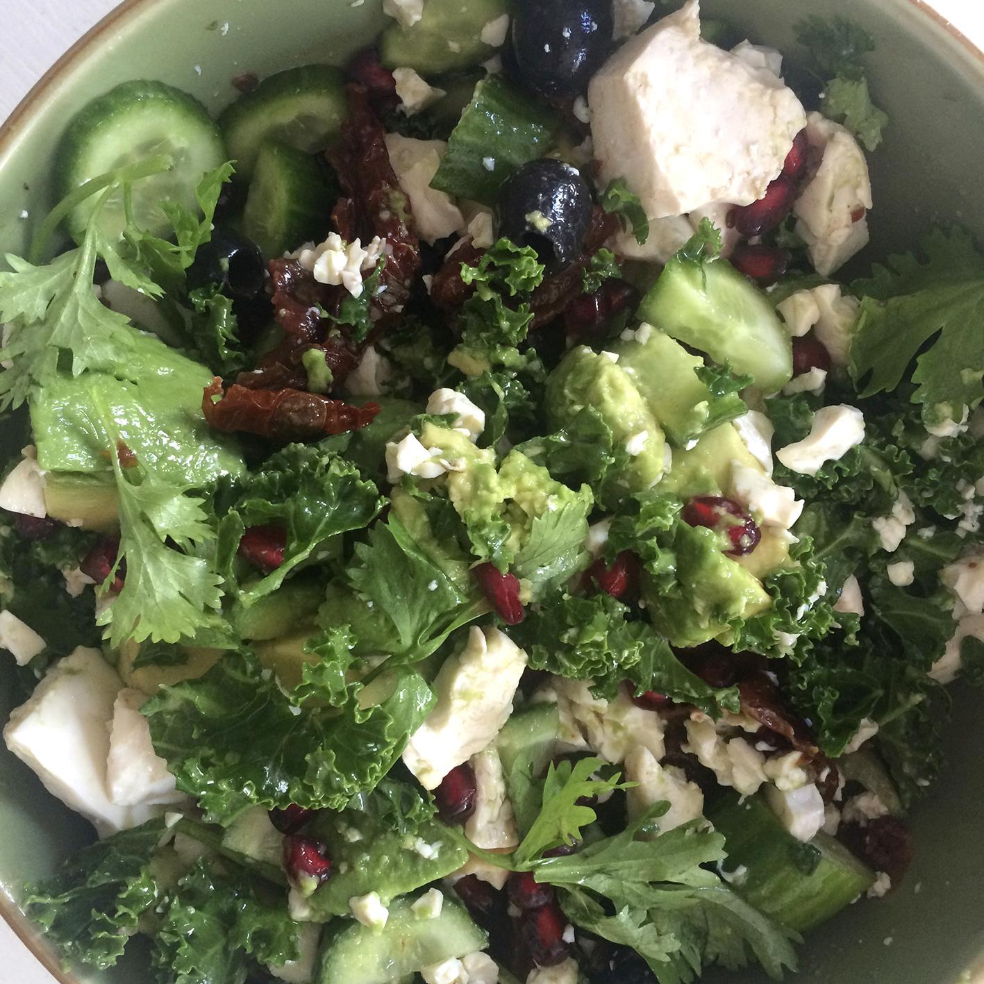 Vegan blog Tofu Kale salad Charney Magri